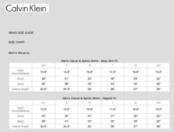 Calvin Klein尺碼對照表 中美服裝尺碼換算表