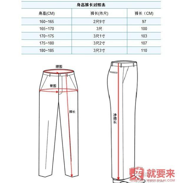 单位换算------裤子尺码对照表
