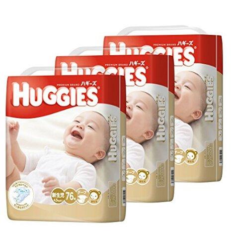日本本土好奇HUGGIES男女拉拉裤 NB76*3包、S66x3(198枚)