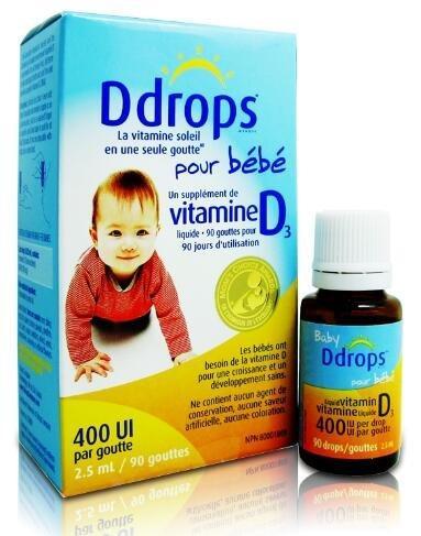补货!Ddrops婴儿维生素D3滴剂400IU 90滴 【4瓶包邮装 】