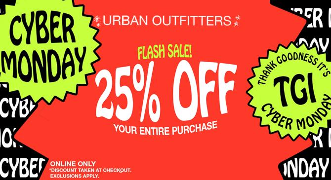 美国Urban Outfitters官网开启网络星期一 满额立减活动专场